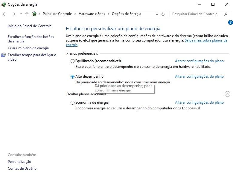 Mudando as configurações de energia no Windows 10