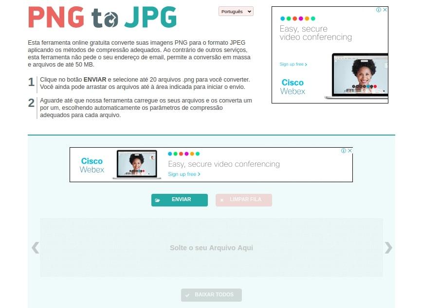 Como converter imagens PNG para JPG online
