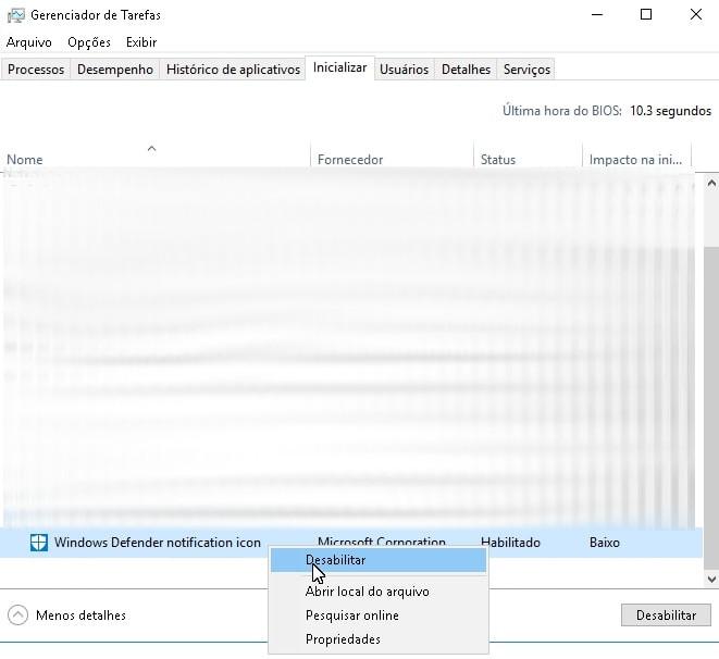 Desabilitar a inicialização do Windows Defender