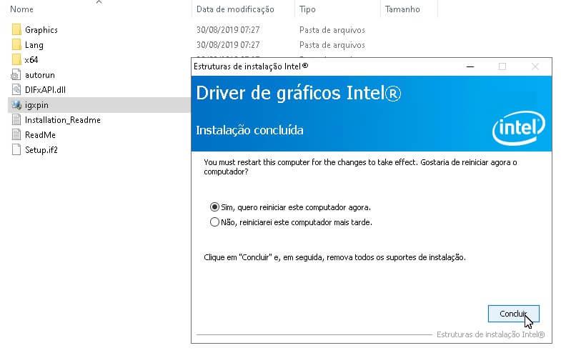 Reinstalação do driver gráfico da Intel