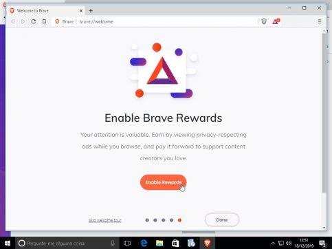 Sistema de recompensas do Brave