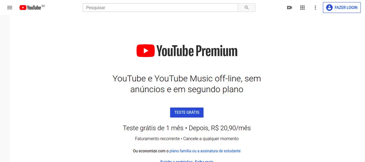 YouTube sem anúncios