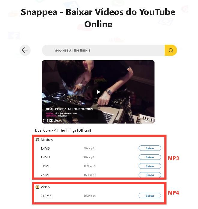 Baixando MP4 e MP3 do YouTube