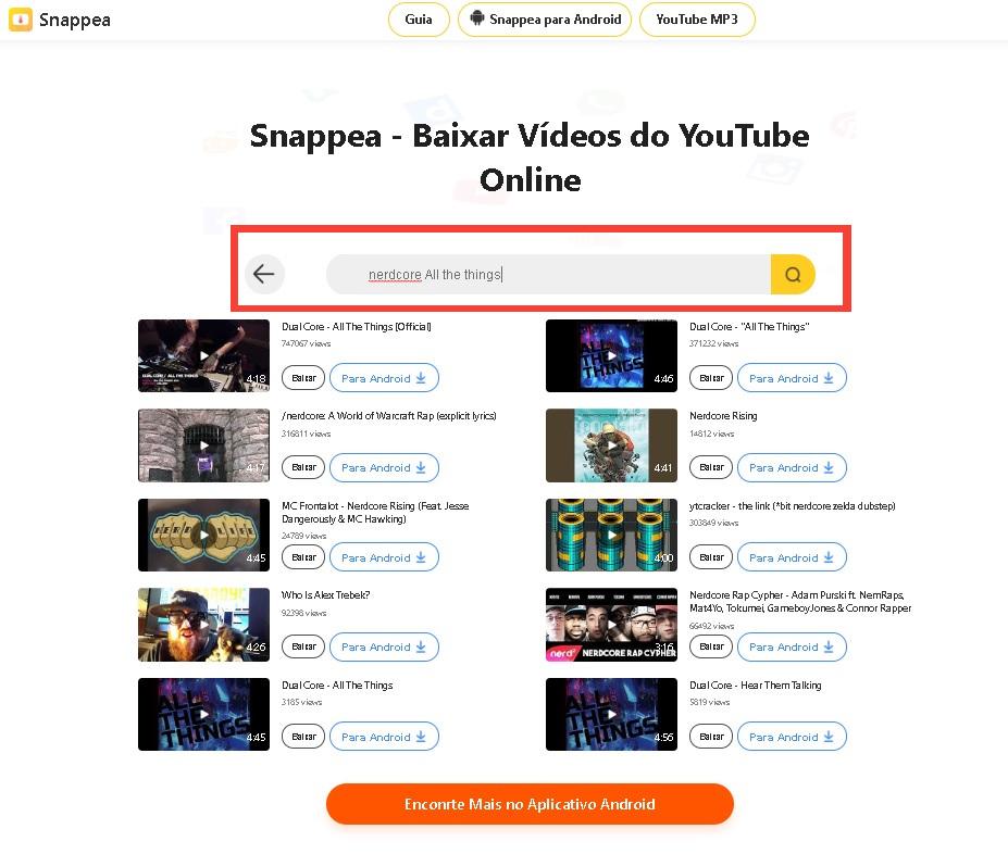 Snappea pesquisando vídeos e baixando do YouTube