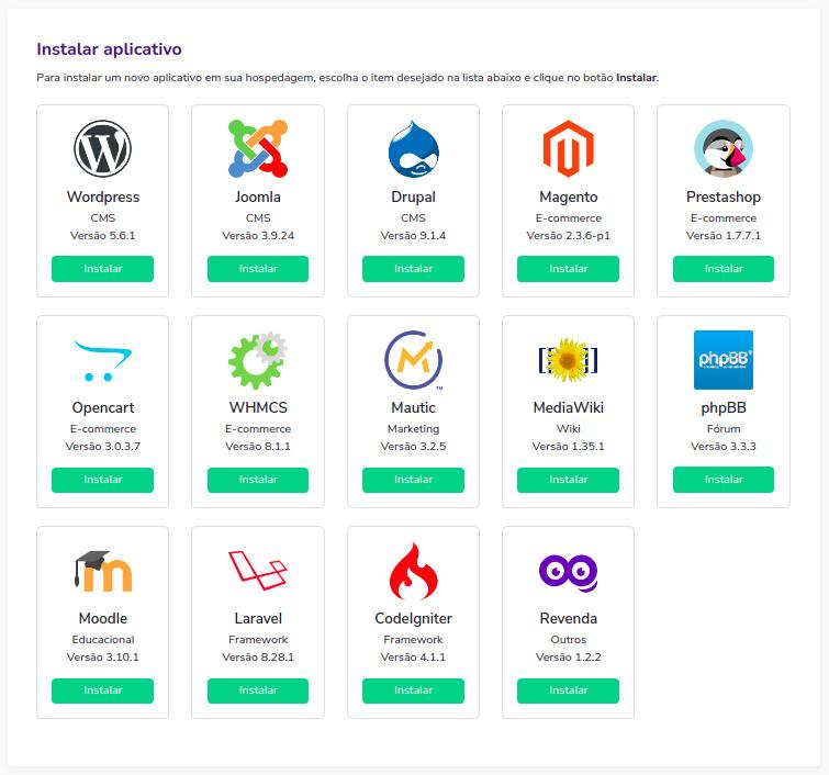 Instalação de aplicações como WordPress, Joomla, Drupal, Magento, PrestaSop, Opencart, WHMCS, Mautic, MediaWiki, phpBB. Moodle, Laravel, CodeIgniter e Revenda Hostoo.