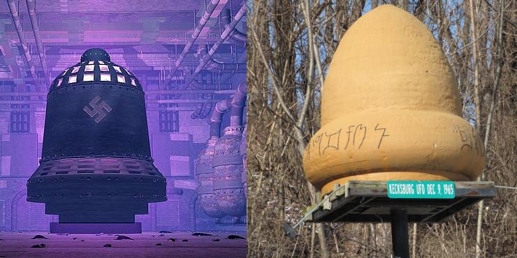 Do lado esquerdo uma reprodução do suposto sino nazista e do direto um monumento do OVNI de Kecksburg