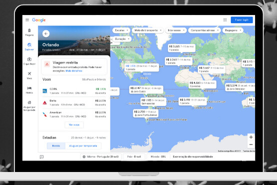 Informações sobre COVID-19 para viagens no Google Travel